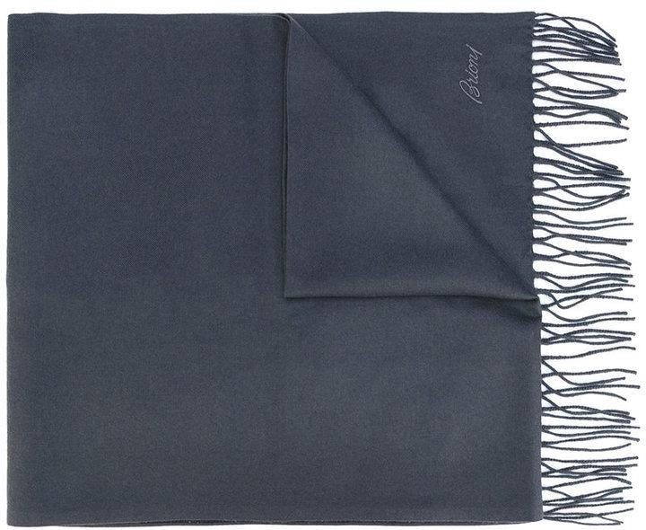 Мужской темно-серый шелковый шарф с принтом от Brioni
