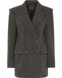 Женский темно-серый шерстяной двубортный пиджак в вертикальную полоску от Isabel Marant