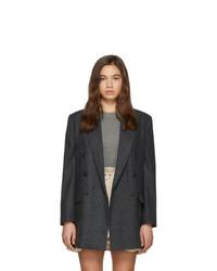 Женский темно-серый шерстяной двубортный пиджак в клетку от Isabel Marant Etoile