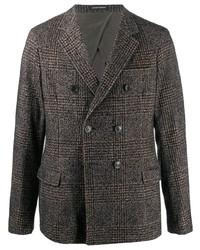 Мужской темно-серый шерстяной двубортный пиджак в шотландскую клетку от Emporio Armani