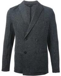 Темно-серый шерстяной двубортный пиджак