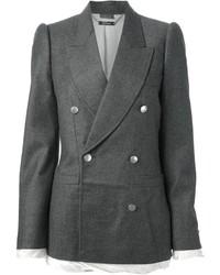 Женский темно-серый шерстяной двубортный пиджак от Alexander McQueen