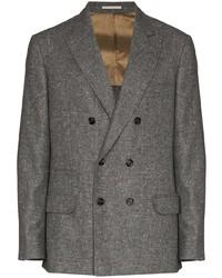 Мужской темно-серый шерстяной двубортный пиджак от Brunello Cucinelli