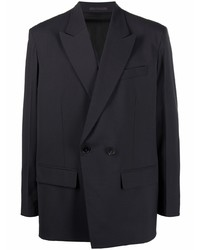 Мужской темно-серый шерстяной двубортный пиджак от Valentino
