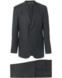 Темно-серый шерстяной костюм в вертикальную полоску