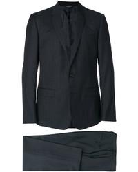 Мужской темно-серый шерстяной костюм в вертикальную полоску от Dolce & Gabbana