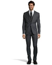 Темно-серый шерстяной костюм-тройка