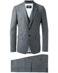 Мужской темно-серый шерстяной костюм-тройка от DSQUARED2