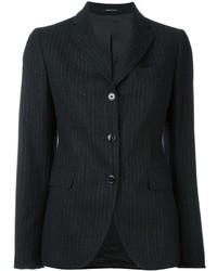 Темно-серый шерстяной пиджак в вертикальную полоску