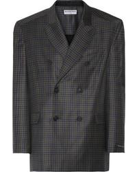 Темно-серый шерстяной пиджак в клетку