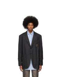 Мужской темно-серый шерстяной пиджак в клетку от Gucci