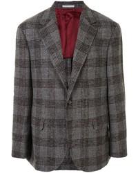 Мужской темно-серый шерстяной пиджак в шотландскую клетку от Brunello Cucinelli