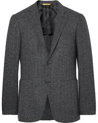 """Темно-серый шерстяной пиджак с узором """"в ёлочку"""""""
