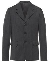 Мужской темно-серый шерстяной пиджак от Prada