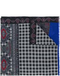 Мужской темно-серый шерстяной шарф с принтом от Etro