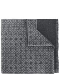 Мужской темно-серый шерстяной шарф от Salvatore Ferragamo