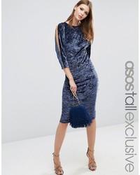 Женское темно-синее бархатное платье-футляр