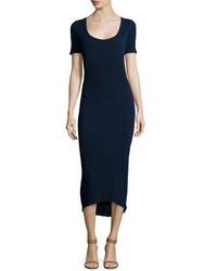 Темно-синее вязаное платье-миди