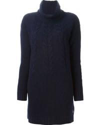 Темно-синее вязаное платье-свитер