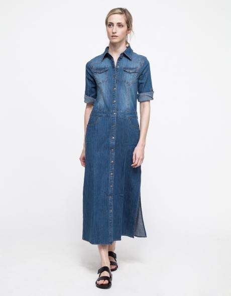 Купить джинсовое платье миди