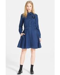 Темно-синее джинсовое платье-рубашка