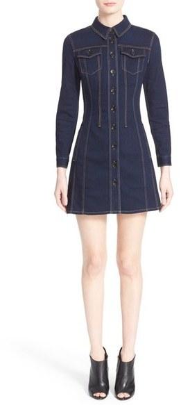 ... платья-рубашки Женское темно-синее джинсовое платье-рубашка от Burberry 1cd39fb55c7