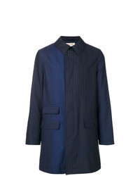 Темно-синее длинное пальто в вертикальную полоску