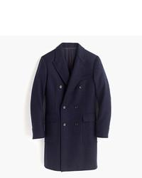 """Темно-синее длинное пальто с узором """"в ёлочку"""""""