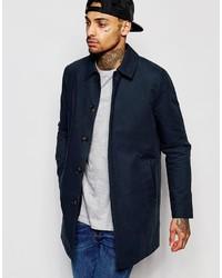 Мужское темно-синее длинное пальто от Asos
