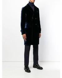 Темно-синее длинное пальто от Emporio Armani