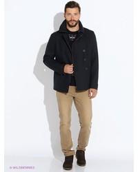 купить мужское темно синее длинное пальто Geox модные модели