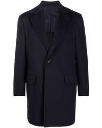 Темно-синее длинное пальто от Kiton