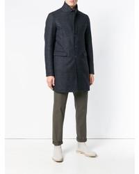 Темно-синее длинное пальто от Herno