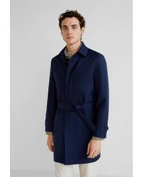 Темно-синее длинное пальто от Mango Man