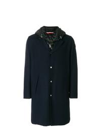 Мужское темно-синее длинное пальто от Moncler