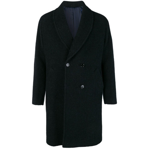 Темно-синее длинное пальто от Mp Massimo Piombo