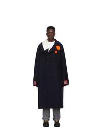 Темно-синее длинное пальто от Off-White