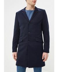 Темно-синее длинное пальто от ONLY & SONS