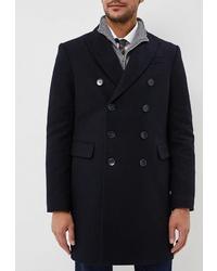 Темно-синее длинное пальто от Sainy