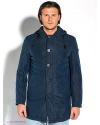 Мужское темно-синее длинное пальто от Strellson