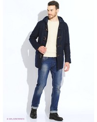 Мужское темно-синее длинное пальто от Tommy Hilfiger