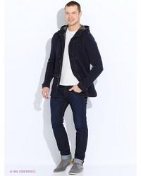 Мужское темно-синее длинное пальто от United Colors of Benetton