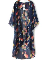 Темно-синее кимоно с цветочным принтом