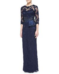 Темно-синее кружевное вечернее платье
