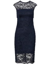 Темно-синее кружевное платье-футляр