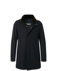 Мужское темно-синее пальто с меховым воротником от Herno