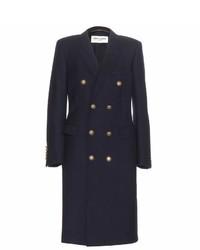 Женское темно-синее пальто от Saint Laurent
