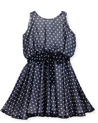 Темно-синее платье в горошек