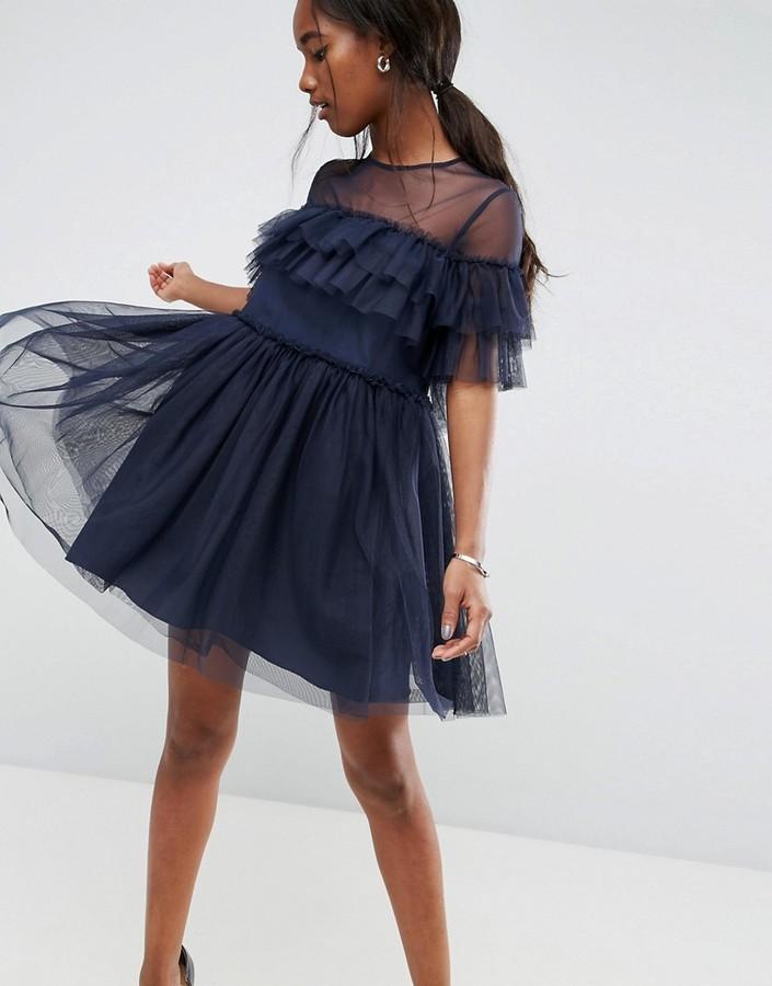 41d8a5c8134 ... Темно-синее платье из фатина с рюшами от Asos ...