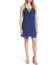 Темно-синее платье-комбинация